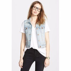 Madewell  Blue Sleeveless Button Front Vest Jacket